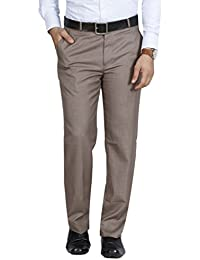 McHenry Men's Solid Formal Regular Fit PolyViscose Trousers