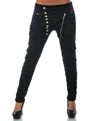 Damen Boyfriend Jeans Hose Reißverschluss Knopfleiste (weitere Farben) No 14145, Farbe:Schwarz;Größe:34 / XS -