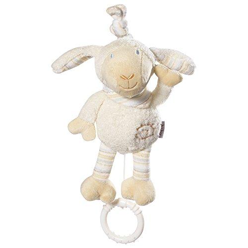 Fehn 154450 Mini-Spieluhr Schaf / Kuscheltier mit integriertem Spielwerk mit sanfter Melodie zum Aufhängen an Kinderwagen, Babyschale oder Bett, für Babys und Kleinkinder ab 0+ Monaten