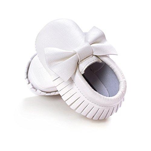 Anna-Kaci Baby Bogen weiche Sohle Leder Schuhe Infant Jungen Mädchen Kleinkind Mokassin 0-18 Monate weiß