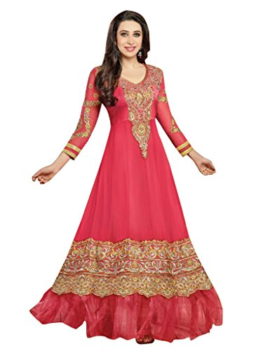 Vibes Women Georgette Patch Work Semi-stitched Salwar Kameez Dress Material (V54-36000 _Pink _Free Size)