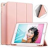 Ztotop Hülle für iPad 9.7 Zoll 2018,Ultradünne Soft TPU Rückseite Abdeckung Schutzhülle mit eingebautem Apple Pencil Halter, Automatischem Schlaf/Aufwach, für iPad 9.7 (6. Generation), Roségold