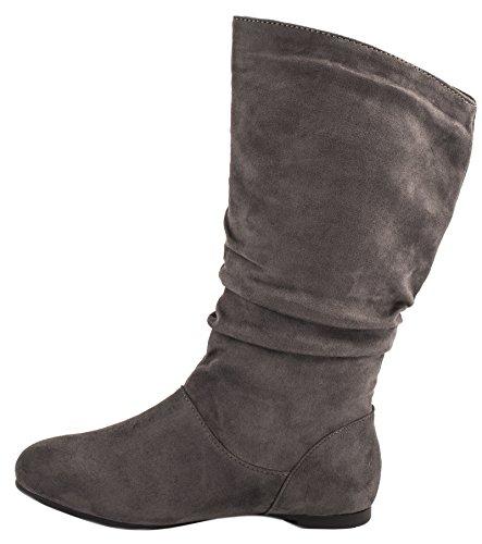 Elara Damen Stiefel | Bequeme Flache Schlupfstiefel | Lederoptik Grau Wildlederoptik 2