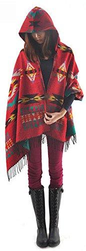 YEESAM Poncho Damen, Neu mit Kapuze Schal - Frauen Winter Mit Kapuze Poncho Cape Mantel Warm Schal Mantel
