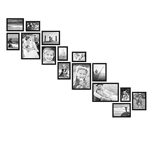 Treppe Set (PHOTOLINI Bilderwand Treppe Modern Schwarz aus MDF 15er Bilderrahmen-Set für Treppenhaus/Treppenaufgang)