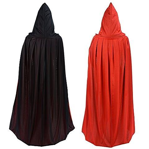 Umhang/Cape doppelseitig rot schwarz mit Kapuze Halloween Ostern Weihnachten Gothic Vampir Pirat (Piraten Ideen Kostüme)