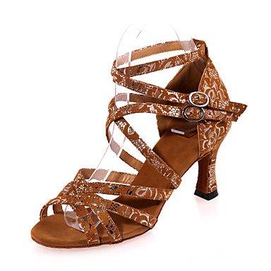 Scarpe da ballo - Non personalizzabile - Da donna - Balli latino-americani - Tacco a rocchetto - Vellutato - Nero / Marrone / Dorato Brown