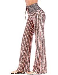 Hibote Pantaloni da Donna Vita Alta Pantaloni di Danza Elasticizzati  Autunno Super Soft Striscia Harem Pantaloni e852cc5286db