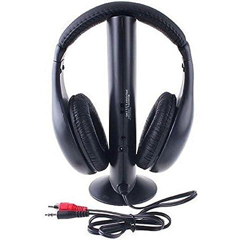 hansee® Hi-Fi Auriculares Inalámbrico de Vídeo–Auriculares de diadema para PC portátil TV Radio FM