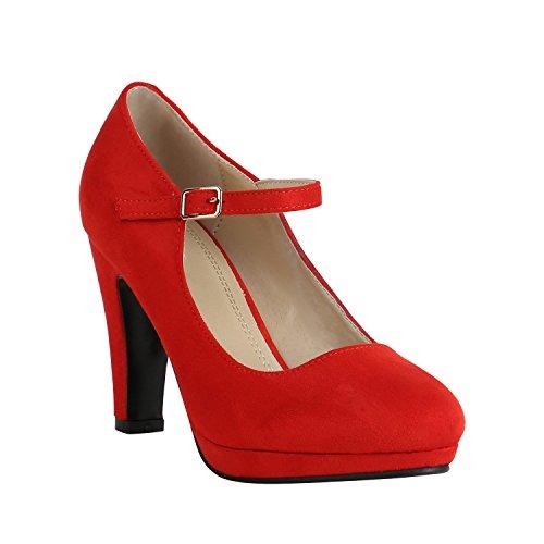 Stiefelparadies Damen Schuhe Plateau Pumps Lack Spangenpumps High Heels Blockabsatz 157225 Rot Brito 41 Flandell