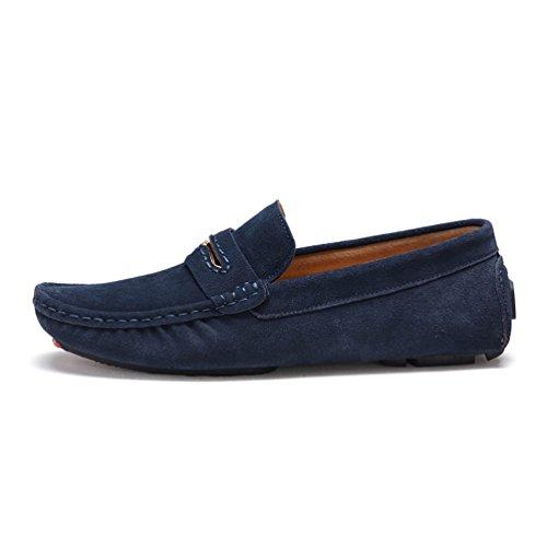 Baymate Homme Moccassins Plats Slip-on Loisirs Loafers Chaussures de Conduite Sombre Bleu