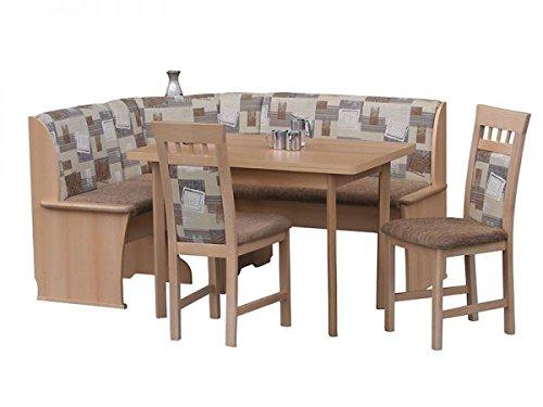 Eckbankgruppe Riedberg mit Truhe Buche Dekor 163x123 cm umstellbar bestehend aus Eckbank, Tisch mit Auszug, 2 Stühle