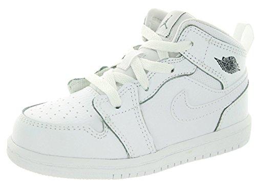 Jordan Nike Toddlers 1 Mid BT White/Cool Grey/White Basketball Shoe 5 Infants US
