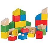 Natureich – Bunte Bausteine zum Stecken & Bauen aus Holz – 28 Holzspielzeug Blöcke