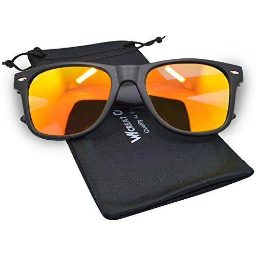 WHCREAT Wayfarer Unisex Polarisierte Sonnenbrille Federscharnier Matt Rahmen UV 400 Schutz Linse für Männer Frauen - Matt Schwarz Rahmen Orange Linse