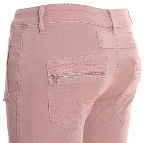 basic.de, Jeans da donna, taglio boyfriend, a 2bottoni Rosa 4-Knopf und Reißverschluss