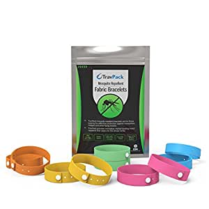 TravPack® PREMIUM Fabric Mosquito Repellent Wristbands (x10 Assorted Colours) - KEEP MOSQUITOES AWAY NOW! Market Leading Bug & Insect Repellent, Scientifically Designed With 10 Days Use Per Bracelet! FREE Delivery When You Buy 2 Packs.