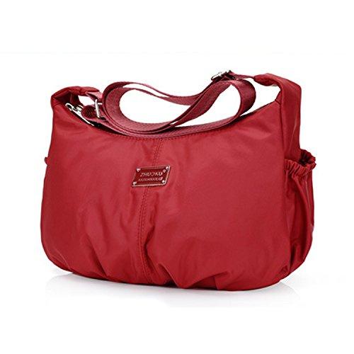 Foino Borsello Casuale Borse a Spalla Donna Borsa Tracolla Leggero Borse da Moda Sacchetto Impermeabile Sport Bag Borsetta Rosso 2