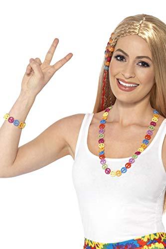 Smiffys Unisex Hippie Friedenszeichen Set, Kette und Armband, One Size, Bunt, 44660 (Peace World Zeichen)
