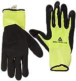Delta Plus V734JA09 Lot de 120 gants en polyamide/spandex avec mousse nitrile et revêtement en TPU sur la paume de la main Jaune fluo/noir 09/120 pièces