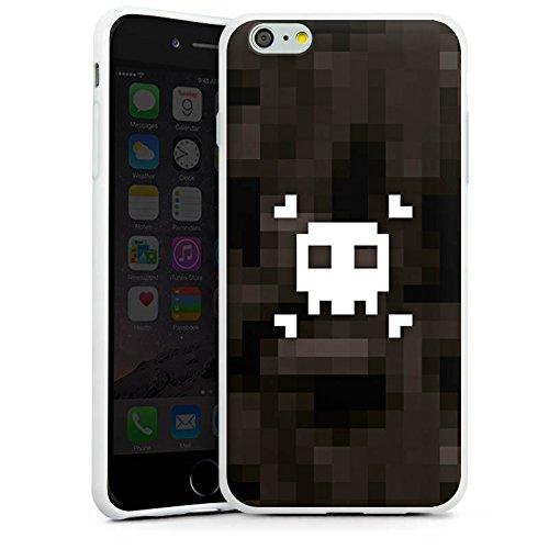 Apple iPhone X Silikon Hülle Case Schutzhülle Pixel Piraten Totenkopf Silikon Case weiß