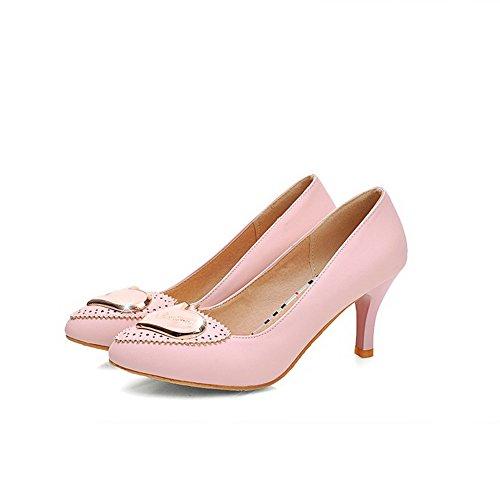 AllhqFashion Femme à Talon Correct Matière Souple Mosaïque Tire Pointu Chaussures Légeres Rose