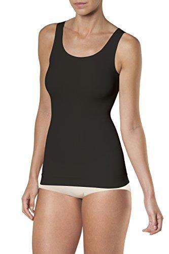 SLEEX Figurformendes Damen Unterhemd (mit Breiten Traegern), Schwarz, Groesse L/XL