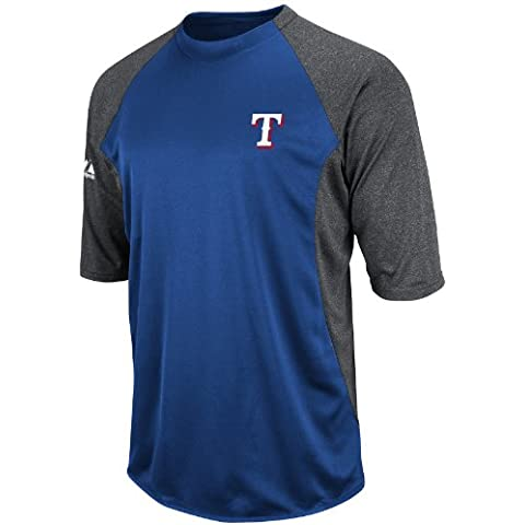 MLB Texas Rangers 3/4 Sleeve Crew Neck Featherweight Tech Fleece Pullover, Blue/Grey, Large