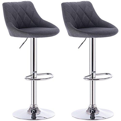 WOLTU BH69dgr-2 Barhocker Tresenhocker, gut gepolsterte Sitzfläche aus Leinen, Höhenverstellbar, Drehbar, 2 x Hocker, Dunkelgrau - Stoff Stahl Bar Hocker