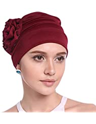 Women Chemo Cap Sleep Turban Headwear Hat with Elegant Side Flower Pleated Skull Caps for Cancer Patients