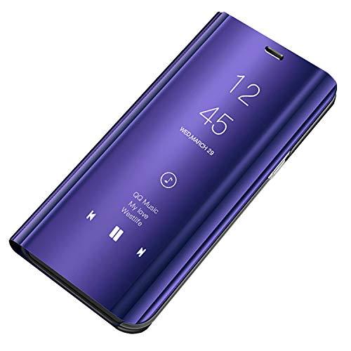 Bakicey S9 Leder Hülle, S9 Plus Handyhülle Spiegel Schutzhülle Flip Tasche Case Cover für Samsung Galaxy S9, Stand Feature handyhuelle etui Bumper Hülle für Samsung Galaxy S9 Plus (S9 Plus, Lila)