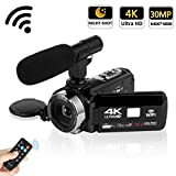 "Camcorder 4K 30MP WIFI Control Digital Camera 3.0"" Touch Screen Night Vision Video Camcorder Vlogging Camera with External Microphone"