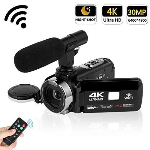 Camcorder 4K Videokamera 30MP WiFi Steuerung Digitalkamera 3,0 Zoll Touchscreen Nachtsichtvideokamera Vlogging Kamera mit externem Mikrofon