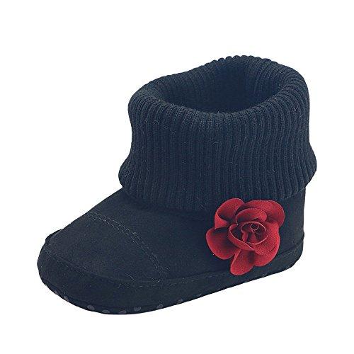 Sunenjoy Bébé Filles Neige Bottes Fleur Lit Doux Seul Prémarcheur Chaud Chaussures pour Enfant 0-24 Mois (0-6 Mois, Noir)
