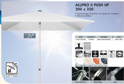 ALUPRO III PUSH UP 200 x 250 cm Alu-Sonnenschirm UV-80 knick-/höhenverstellbar DOPPLER