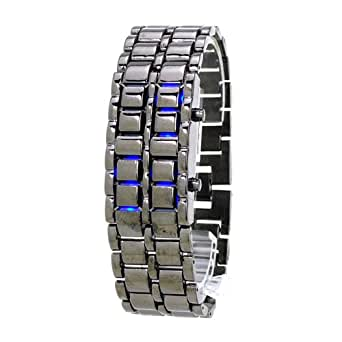 Central World Iron Faceless Blue Binary LED Wrist Watch for Man Black