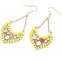 Neon giallo Embellished Gem e cristallo Accent Crescent lampadario orecchini pendenti