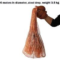 HEIFEN Reti da Pesca Americane Reti da Pesca Tradizionali Reti per Pneumatici Reti da Lancio a Mano Dimensioni Maglia 1 cm Reti da Lancio Resistenti Diametro 3m / 5m / 6m Cadute in Acciaio C