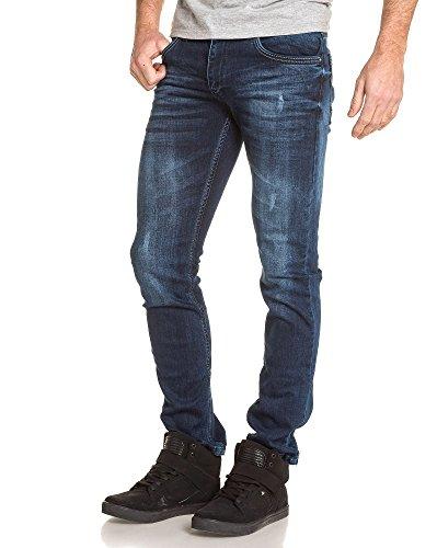 BLZ jeans - abgenutzten verblasste blau dünne Jeans Mann Blau