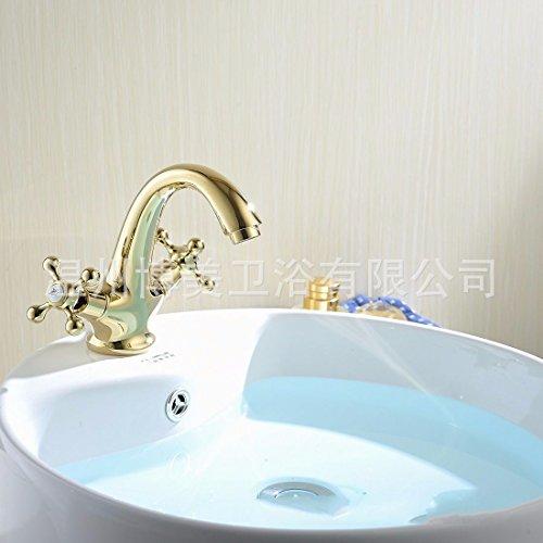 YSRBath Moderne Waschbecken Waschtischarmatur Antike Retro-Brass Chrom Gold Doppel Einzelne Bohrung Mischbatterie Bad Küche Wasserhahn Badarmatur