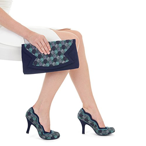 Ruby Shoo Women's Blue Madison Scalloped Court Shoe Pumps & Matching Turin Bag UK 7 EU 40