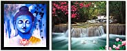 SAF Up Textured 'Buddha ' Print Framed Painting Set of 1 for Home Decoration – Size 35 X 2 X 35 cm &am