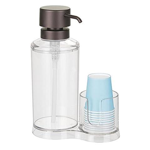 Interdesign 40661EU Distributeur de bain de bouche à pompe Plastique Clair/Bronze 16,1 x 8,64 x 23,11