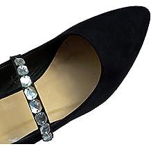 Las prácticas correas elásticas zapatos, decoración del zapato, accesorios de zapatos de boda - joyas de plata en satén negro