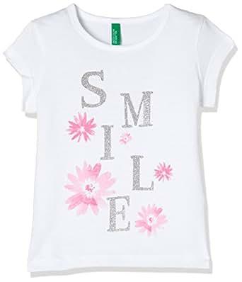 United Colors of Benetton Baby Girl's Plain Regular Fit T-Shirt (18P3096C13JHG_101_White_1Y)