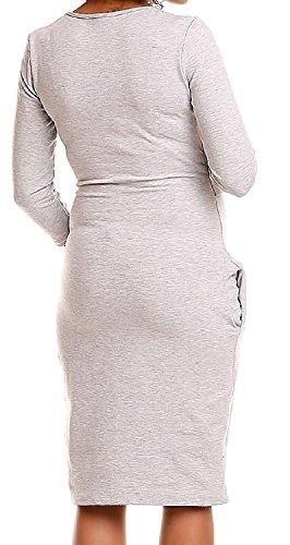 Zeta Ville - Still Kleid Diskretes Schwangere Rundhalsausschnitt - Damen - 404c Hellgrau