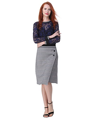Kenancy SET de Vêtement Jupe Mi-longue à Carreaux Boutonnée + Haut en dentelle sexy top manche longue Pour Travil Affaire Bureau Bleu