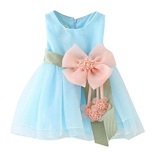 Kleinkind Baby Mädchen Blütenblätter Blume ärmellose Hochzeit formale Brautjungfer Partei Prinzessin Kleid hellblau / 90cm / ()