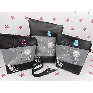 pinkeSterne ☆ Handtasche Umhängetasche Schultertasche Kunstleder Handmade Bestickt Stickerei Handmade Pusteblume Türkis Lila Schmetterling