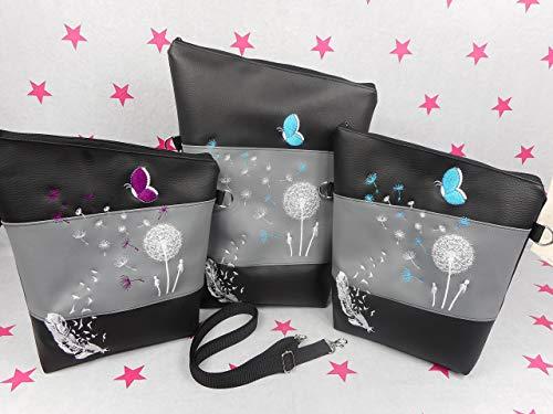 pinkeSterne ☆ Handtasche Umhängetasche Schultertasche Kunstleder Handmade Bestickt Stickerei Handmade Pusteblume Türkis Lila Schmetterling -